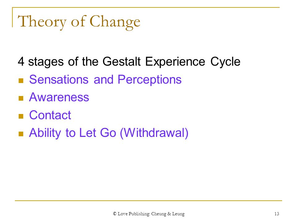 © Love Publishing: Cheung & Leung 13 Theory of Change 4 stages of the Gestalt Experience Cycle Sensations and Perceptions Awareness Contact Ability to