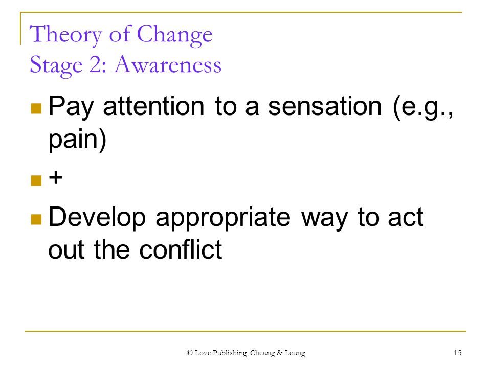 © Love Publishing: Cheung & Leung 15 Theory of Change Stage 2: Awareness Pay attention to a sensation (e.g., pain) + Develop appropriate way to act ou