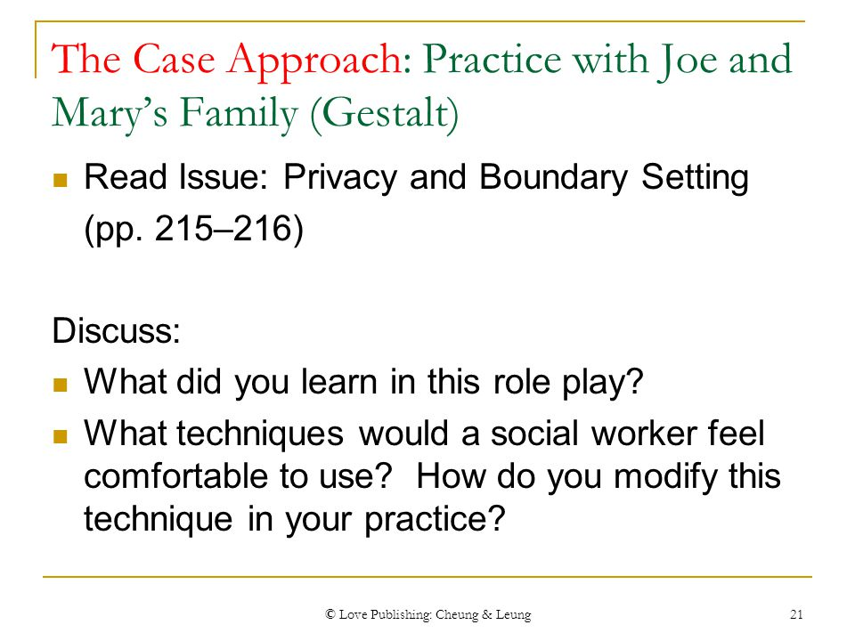 © Love Publishing: Cheung & Leung 21 The Case Approach: Practice with Joe and Mary's Family (Gestalt) Read Issue: Privacy and Boundary Setting (pp. 21
