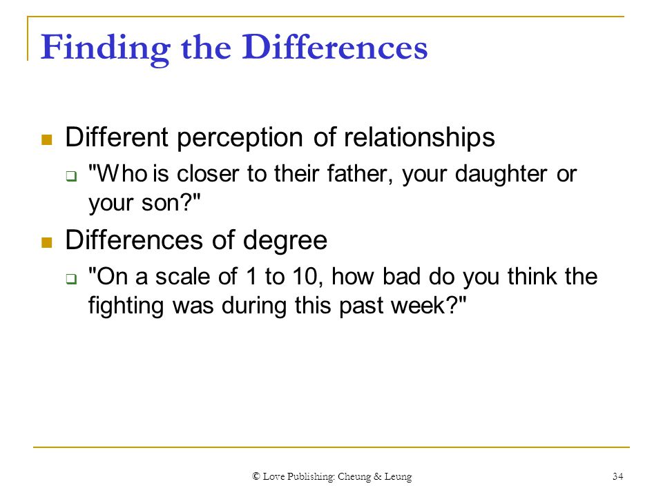 © Love Publishing: Cheung & Leung 34 Finding the Differences Different perception of relationships 