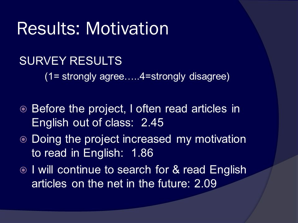 Results: Motivation SURVEY RESULTS (1= strongly agree…..4=strongly disagree)  Before the project, I often read articles in English out of class: 2.45  Doing the project increased my motivation to read in English: 1.86  I will continue to search for & read English articles on the net in the future: 2.09