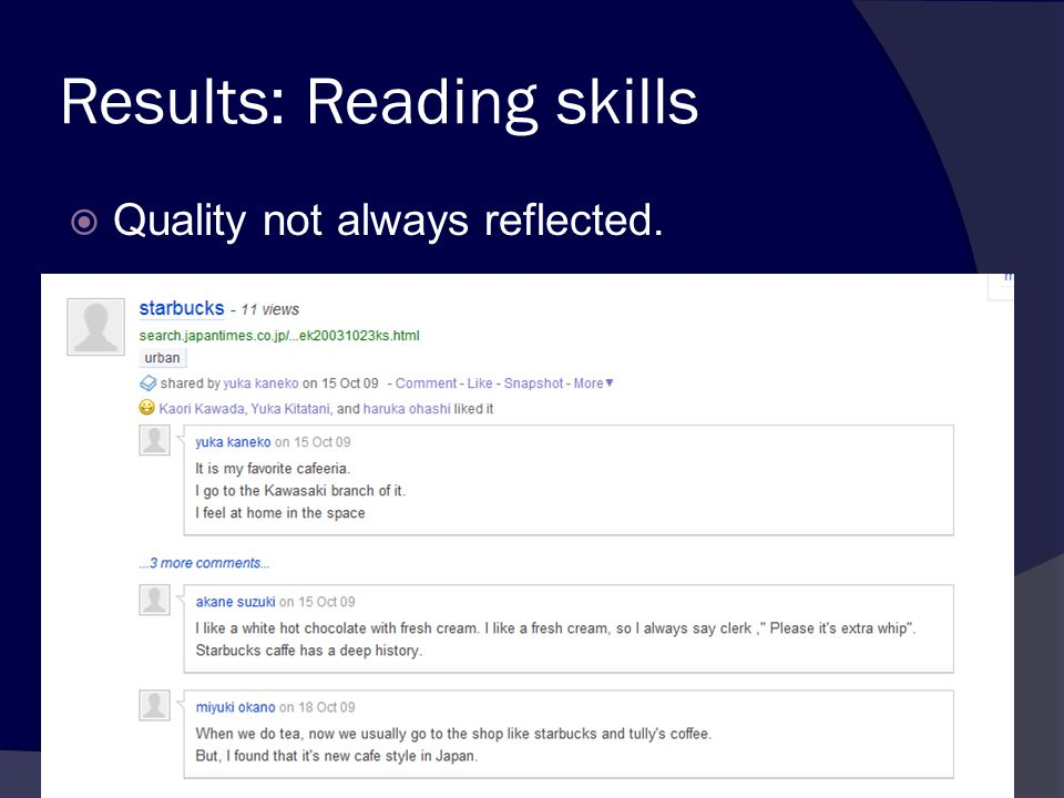 Results: Reading skills  Quality not always reflected.