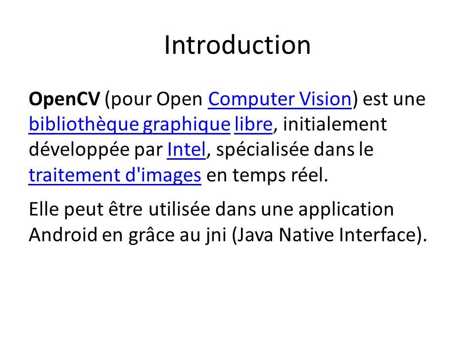 Introduction OpenCV (pour Open Computer Vision) est une bibliothèque graphique libre, initialement développée par Intel, spécialisée dans le traitement d images en temps réel.Computer Vision bibliothèque graphiquelibreIntel traitement d images Elle peut être utilisée dans une application Android en grâce au jni (Java Native Interface).