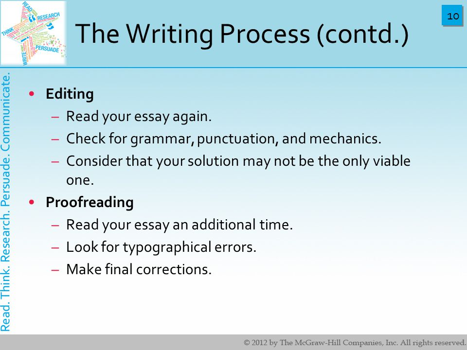 10 The Writing Process (contd.) Editing –Read your essay again.