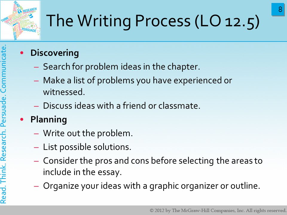 8 8 The Writing Process (LO 12.5) Discovering –Search for problem ideas in the chapter.