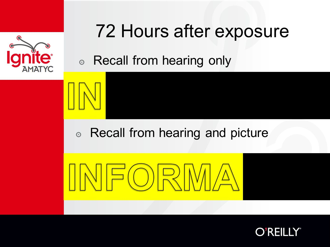 72 Hours after exposure ๏ Recall from hearing only ๏ Recall from hearing and picture