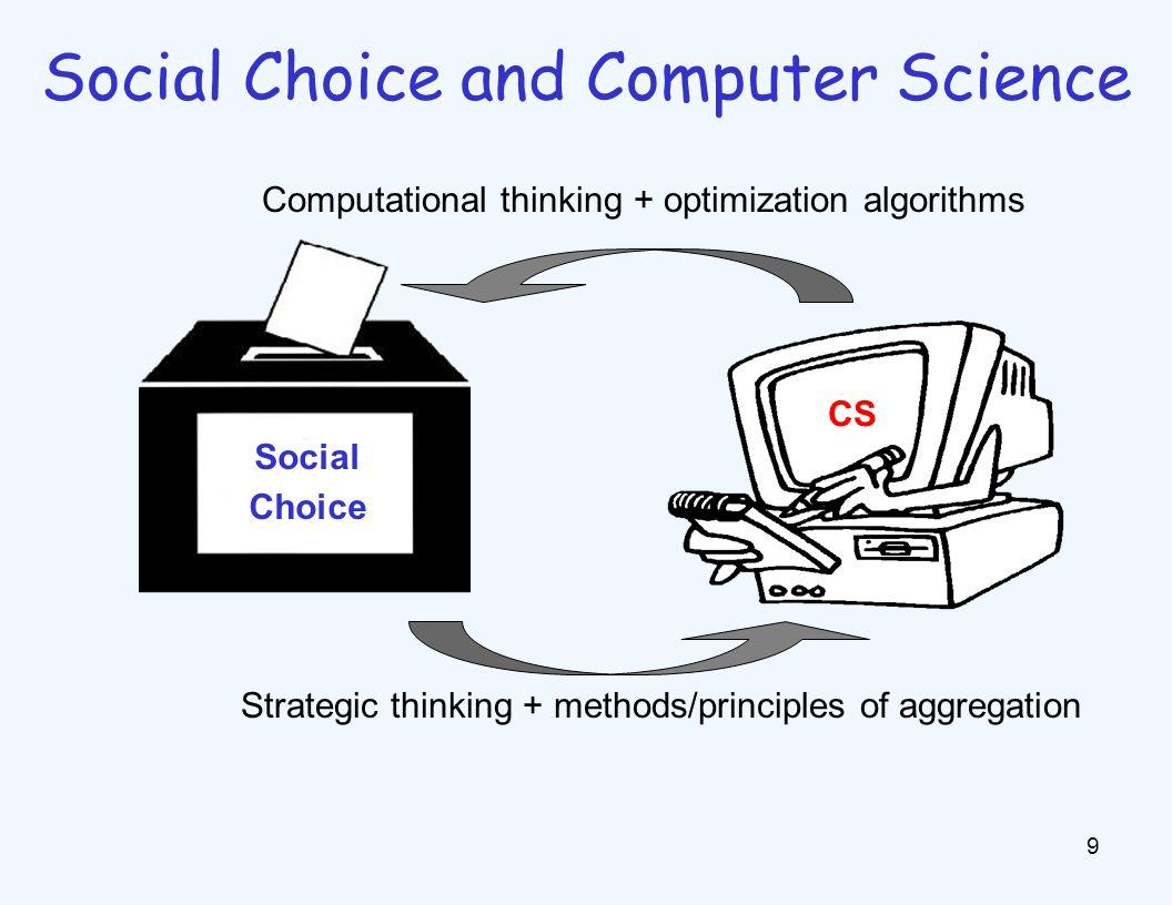 Computational thinking + optimization algorithms CS Social Choice 9 Social Choice and Computer Science Strategic thinking + methods/principles of aggregation