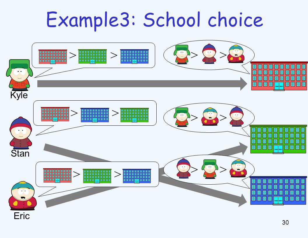 30 Example3: School choice > Kyle Stan Eric >
