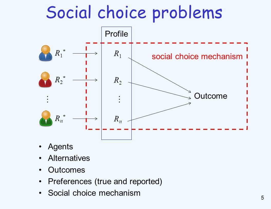 5 Social choice problems R1*R1* R1R1 Outcome R2*R2* R2R2 Rn*Rn* RnRn social choice mechanism …… Profile Agents Alternatives Outcomes Preferences (true and reported) Social choice mechanism