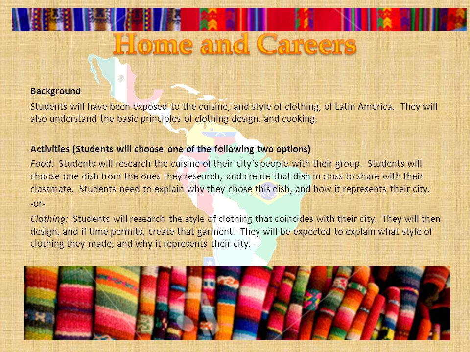 Background Students will have been exposed to the cuisine, and style of clothing, of Latin America.