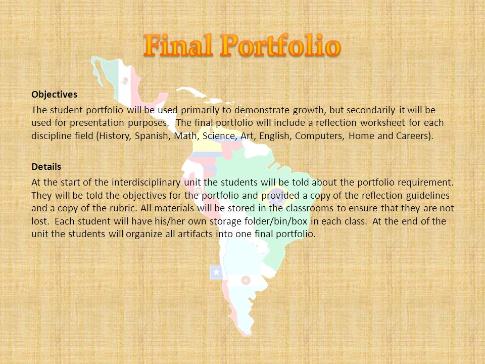 Objectives The student portfolio will be used primarily to demonstrate growth, but secondarily it will be used for presentation purposes.