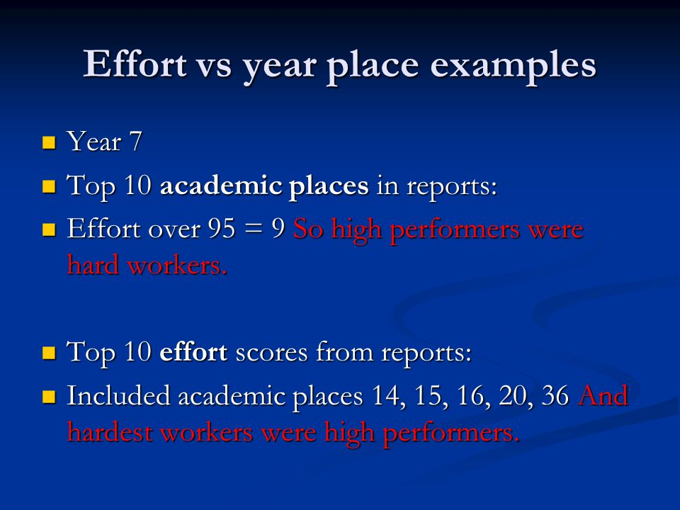 Effort vs year place examples Year 7 Year 7 Top 10 academic places in reports: Top 10 academic places in reports: Effort over 95 = 9 So high performers were hard workers.