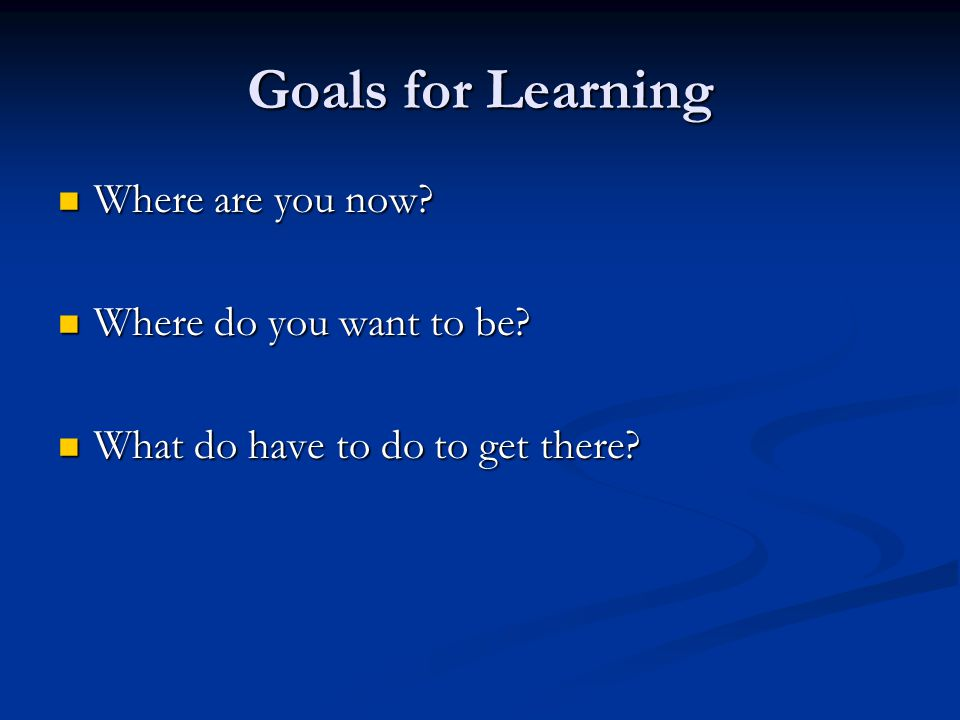 Goals for Learning Where are you now. Where are you now.