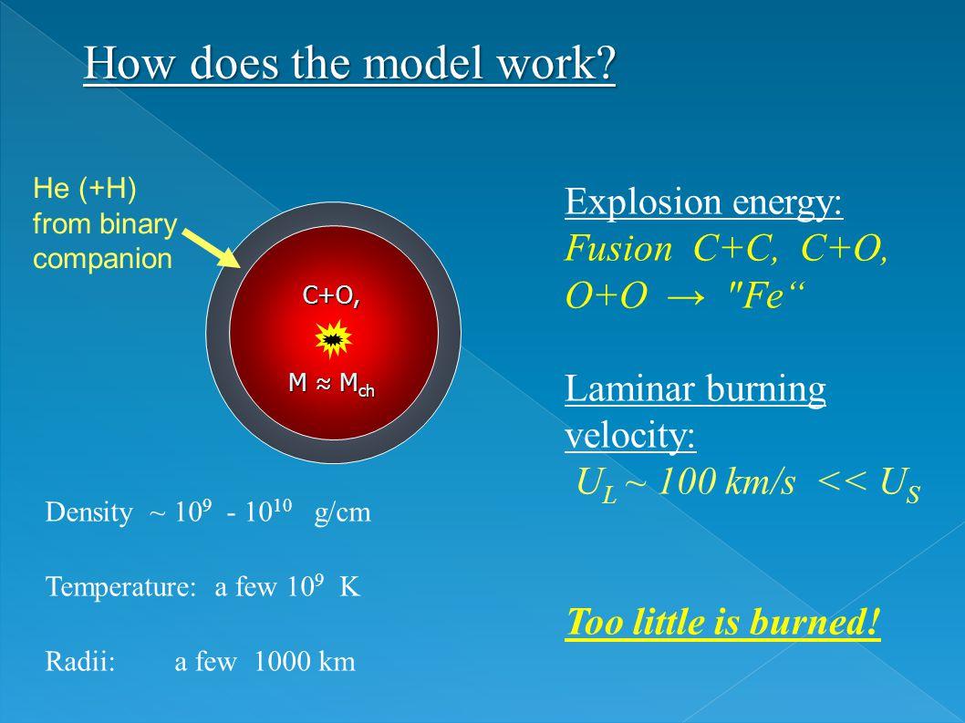 C+O, M ≈ M ch He (+H) from binary companion Density ~ 10 9 - 10 10 g/cm Temperature: a few 10 9 K Radii: a few 1000 km Explosion energy: Fusion C+C, C+O, O+O → Fe Laminar burning velocity: U L ~ 100 km/s << U S Too little is burned.