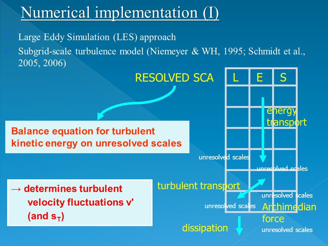  Large Eddy Simulation (LES) approach  Subgrid-scale turbulence model (Niemeyer & WH, 1995; Schmidt et al., 2005, 2006) Balance equation for turbule