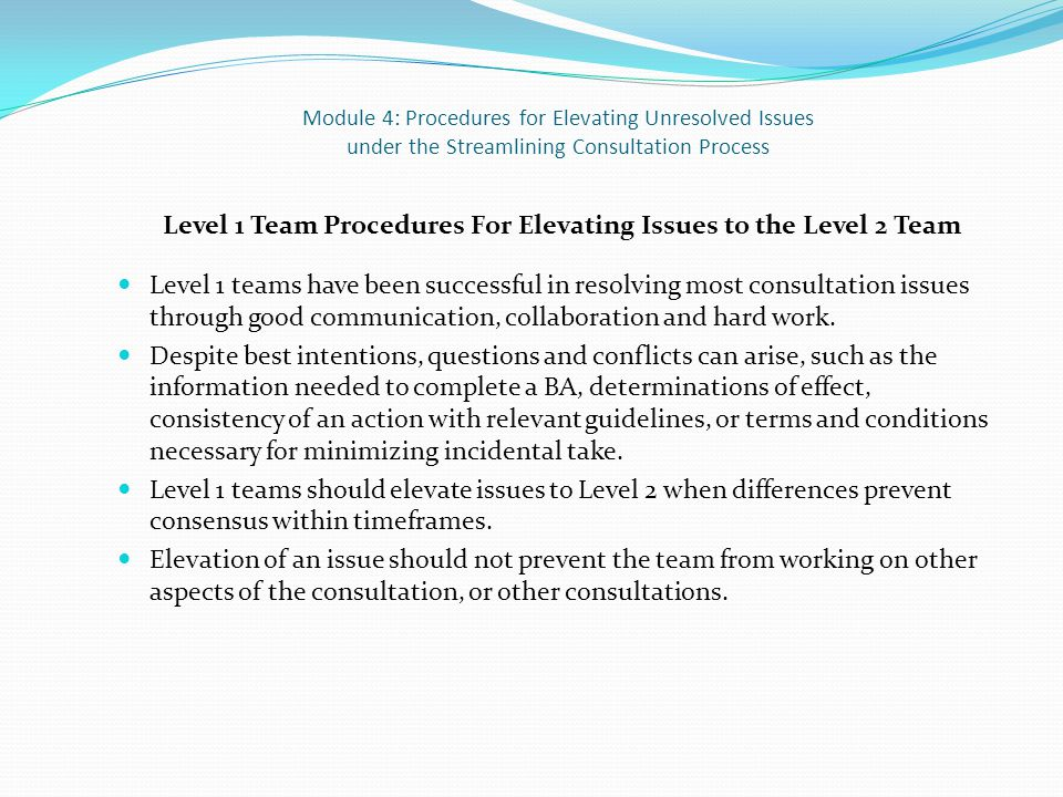 Module 4: Procedures for Elevating Unresolved Issues under the Streamlining Consultation Process Level 1 Team Procedures For Elevating Issues to the Level 2 Team Level 1 teams have been successful in resolving most consultation issues through good communication, collaboration and hard work.