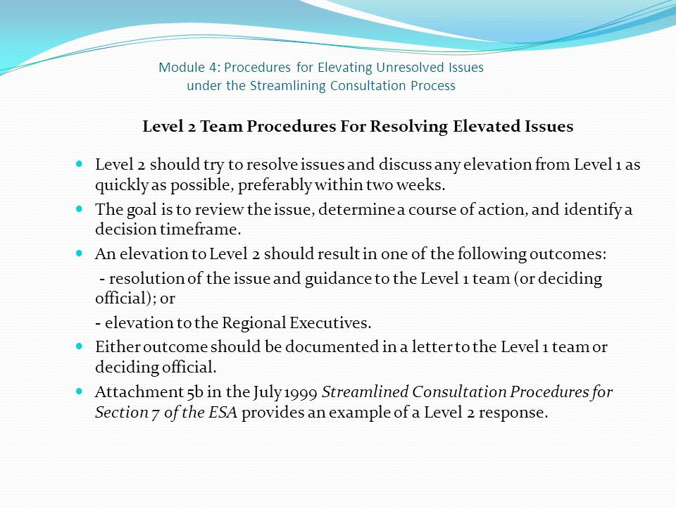 Module 4: Procedures for Elevating Unresolved Issues under the Streamlining Consultation Process Level 2 Team Procedures For Resolving Elevated Issues Level 2 should try to resolve issues and discuss any elevation from Level 1 as quickly as possible, preferably within two weeks.