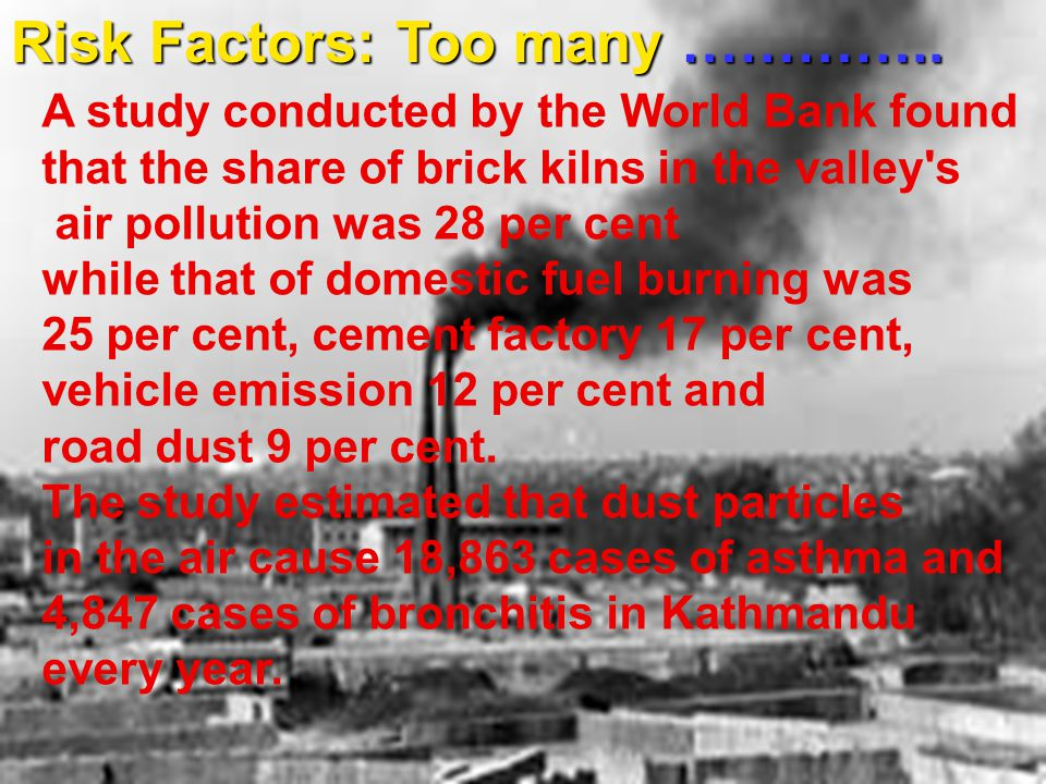 A study conducted by the World Bank found that the share of brick kilns in the valley s air pollution was 28 per cent while that of domestic fuel burning was 25 per cent, cement factory 17 per cent, vehicle emission 12 per cent and road dust 9 per cent.