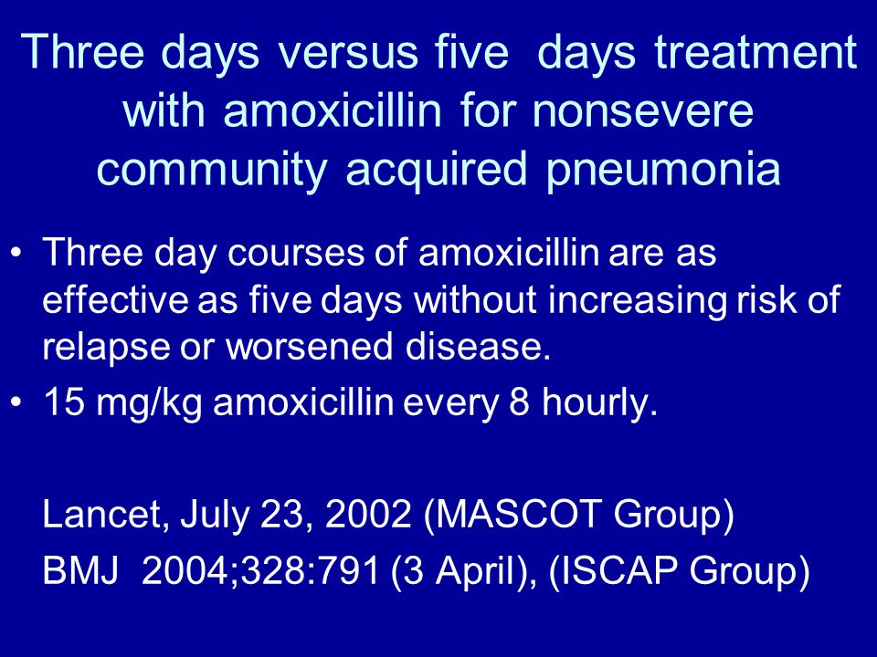 Three days versus five days treatment with amoxicillin for nonsevere community acquired pneumonia Three day courses of amoxicillin are as effective as five days without increasing risk of relapse or worsened disease.