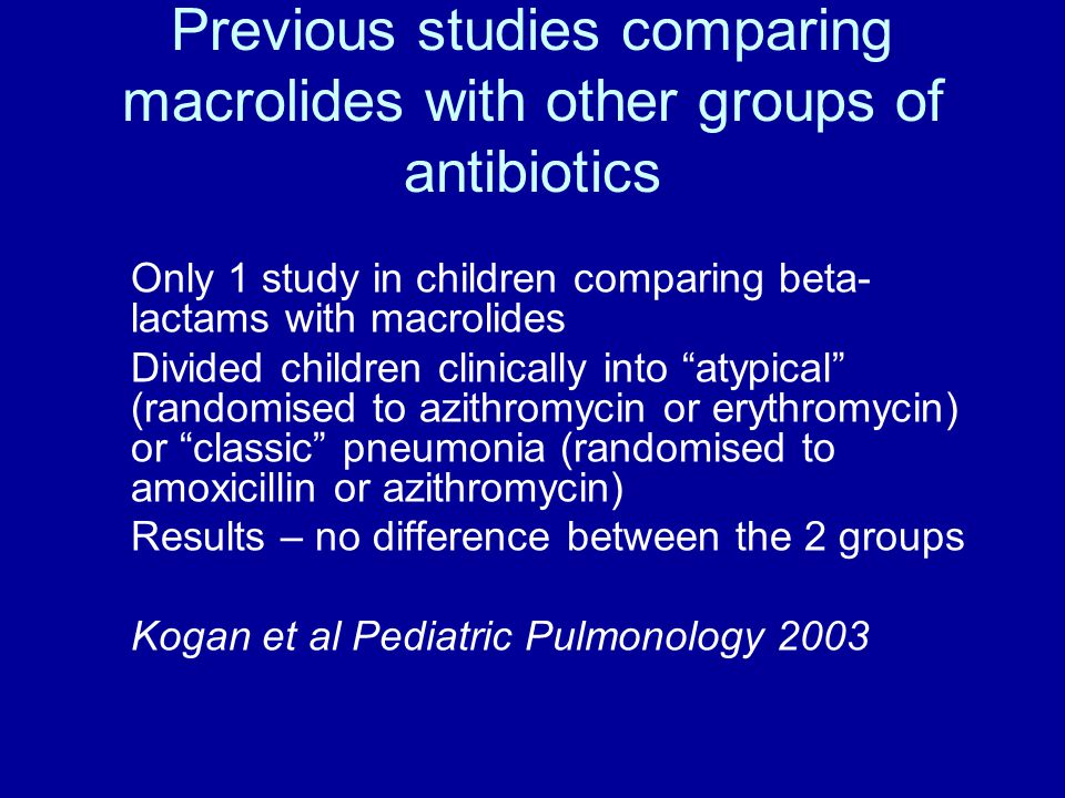 Previous studies comparing macrolides with other groups of antibiotics Only 1 study in children comparing beta- lactams with macrolides Divided children clinically into atypical (randomised to azithromycin or erythromycin) or classic pneumonia (randomised to amoxicillin or azithromycin) Results – no difference between the 2 groups Kogan et al Pediatric Pulmonology 2003