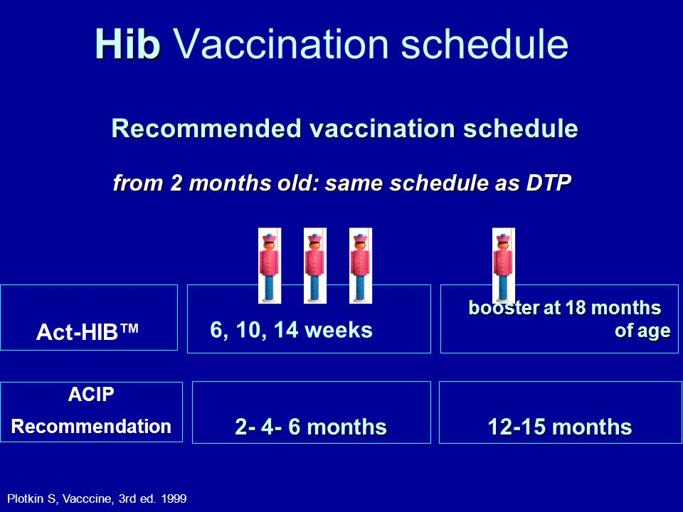 Hib Hib Vaccination schedule Recommended vaccination schedule Recommended vaccination schedule from 2 months old: same schedule as DTP 6, 10, 14 weeks 2- 4- 6 months booster at 18 months of age 12-15 months Plotkin S, Vacccine, 3rd ed.