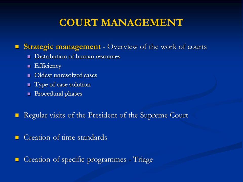 COURT MANAGEMENT Strategic management - Overview of the work of courts Strategic management - Overview of the work of courts Distribution of human res