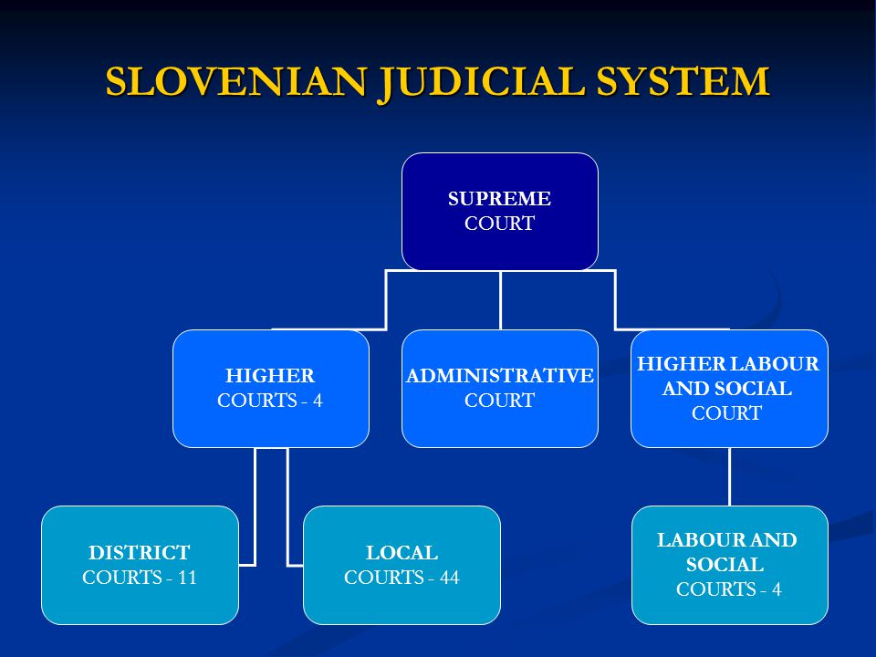 SLOVENIAN JUDICIAL SYSTEM SUPREME COURT HIGHER COURTS - 4 ADMINISTRATIVE COURT HIGHER LABOUR AND SOCIAL COURT DISTRICT COURTS - 11 LOCAL COURTS - 44 L