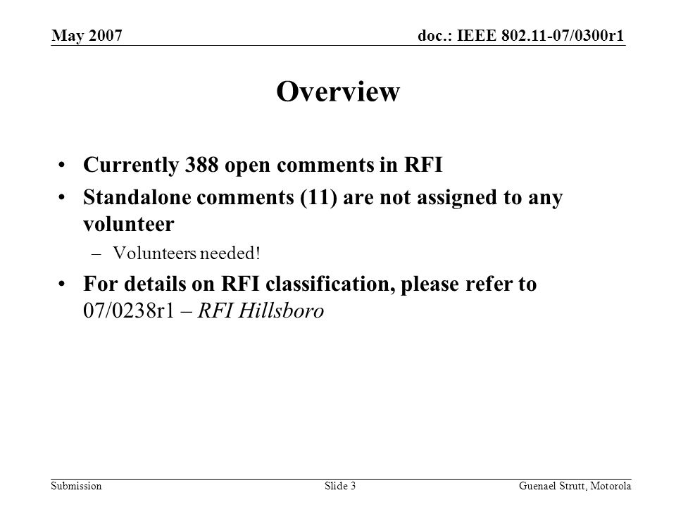 doc.: IEEE 802.11-07/0300r1 Submission May 2007 Guenael Strutt, MotorolaSlide 3 Overview Currently 388 open comments in RFI Standalone comments (11) a