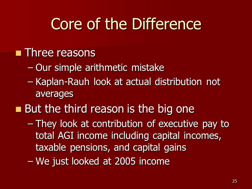 25 Core of the Difference Three reasons Three reasons –Our simple arithmetic mistake –Kaplan-Rauh look at actual distribution not averages But the thi