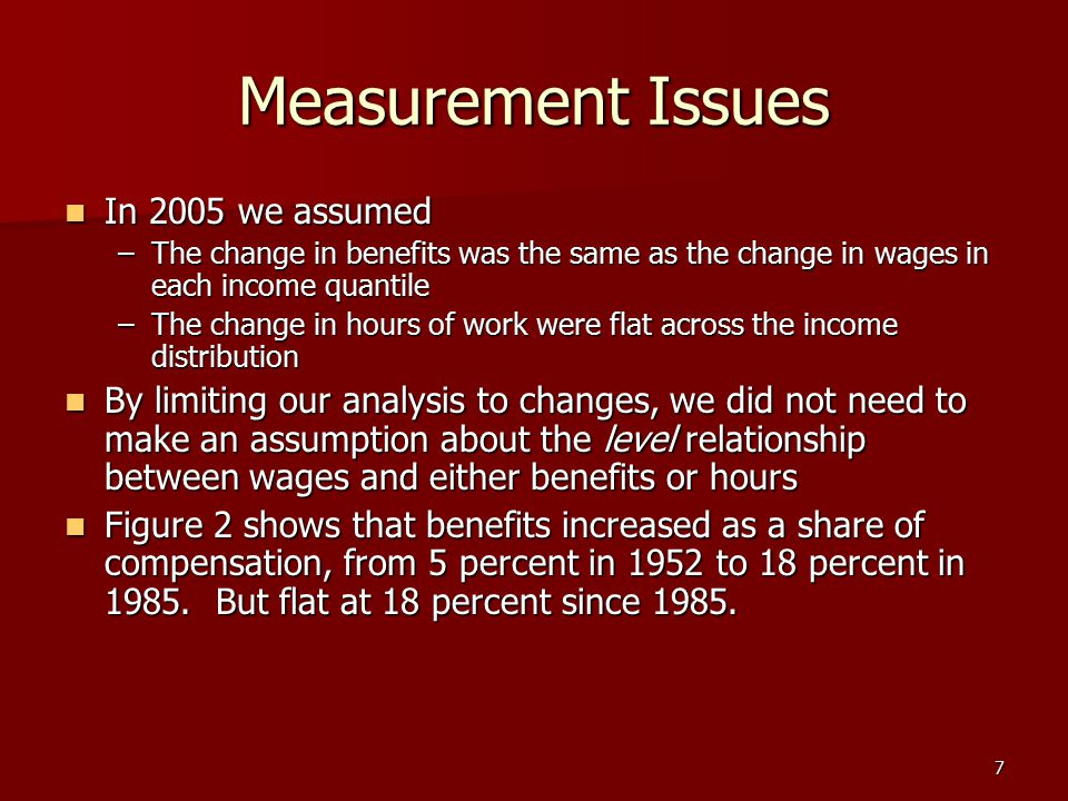 7 Measurement Issues In 2005 we assumed In 2005 we assumed –The change in benefits was the same as the change in wages in each income quantile –The ch