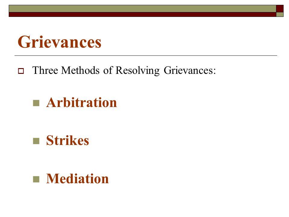 Grievances  Three Methods of Resolving Grievances: Arbitration Strikes Mediation
