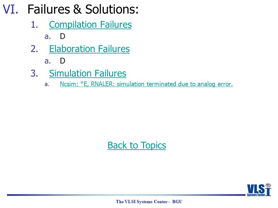 The VLSI Systems Center - BGU VI.Failures & Solutions: 1.Compilation FailuresCompilation Failures a.D 2.Elaboration FailuresElaboration Failures a.D 3