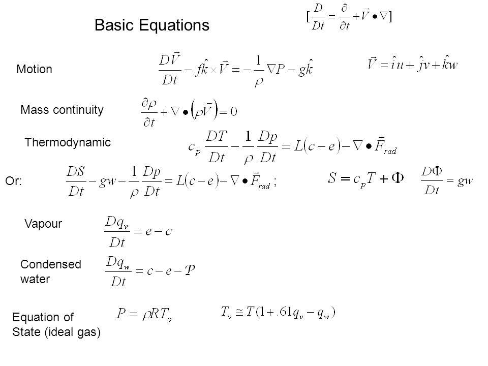 (kinetic energy) (moist static energy) Energy Conservation (e.g., Gill, 1982, ch.