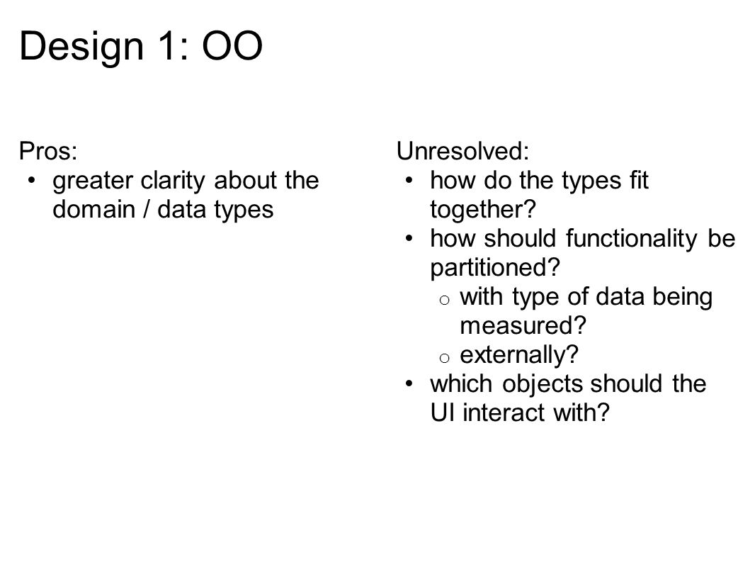 Pros: greater clarity about the domain / data types Unresolved: how do the types fit together.
