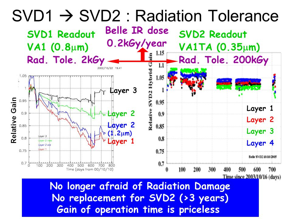 SVD1  SVD2 : Radiation Tolerance Layer 3 Layer 2 (1.2  m) Layer 1 Relative Gain SVD1 Readout VA1 (0.8  m) Rad. Tole. 2kGy SVD2 Readout VA1TA (0.35