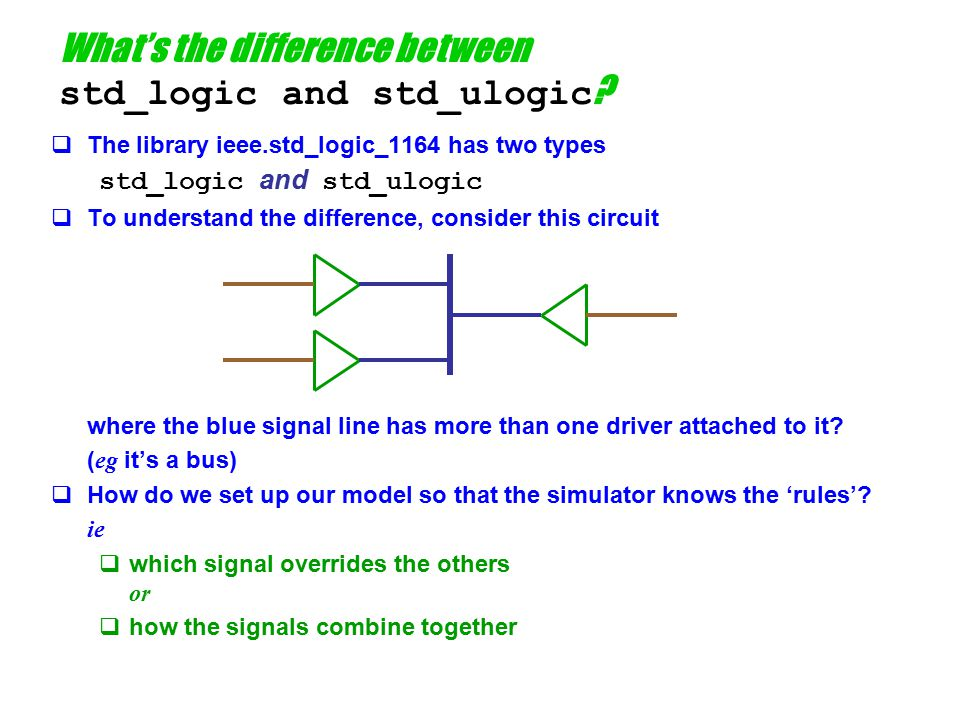 Contending drivers  Remember that VHDL knows nothing about the IEEE 1164 rules  To VHDL, the only primitive operations are those of a 'normal' programming language  addition, subtraction, etc  assignment It does distinguish between signal and variable assignment, but only with respect to the timing of assignment of new values.