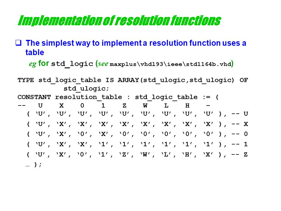 Implementation of resolution functions  The function resolved is now very simple ( see maxplus\vhdl93\ieee\std1164b.vhd ) -- On entry, s will contain the actual values being driven -- this signal FUNCTION resolved ( s: std_ulogic_vector ) RETURN std_ulogic IS VARIABLE result : std_logic := 'Z'; -- default, weakest BEGIN IF ( s'LENGTH = 1 ) THEN RETURN s(s'LOW); ELSE FOR k IN s'RANGE LOOP -- Take each signal in turn and determine the result of -- combining it with the previous result result := resolution_table(result,s(k)); END LOOP; END IF; RETURN result; END resolved;