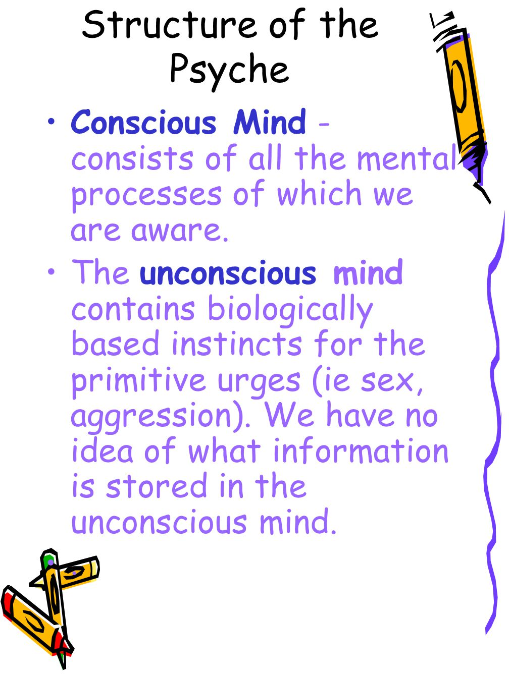 Structure of the Psyche Conscious Mind - consists of all the mental processes of which we are aware. The unconscious mind contains biologically based