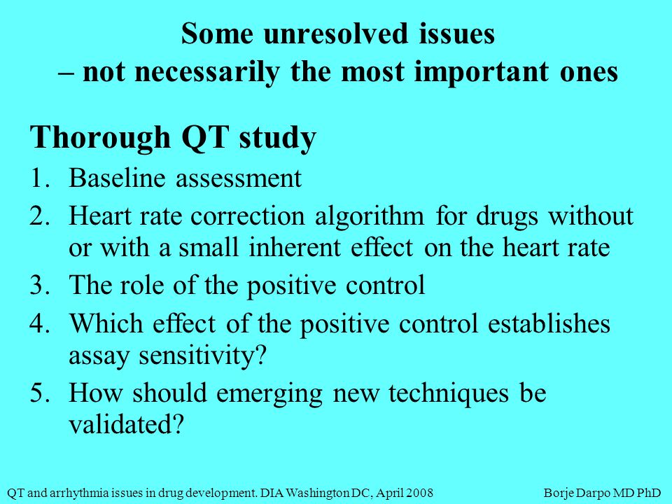 QT and arrhythmia issues in drug development.