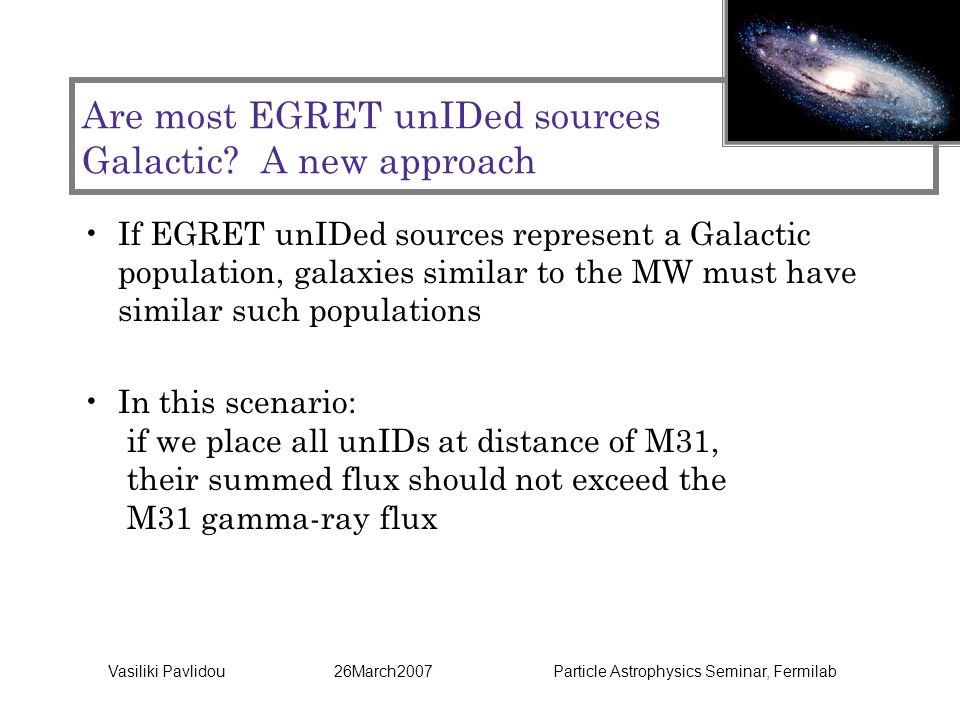 Vasiliki Pavlidou 26March2007 Particle Astrophysics Seminar, Fermilab Are most EGRET unIDed sources Galactic.