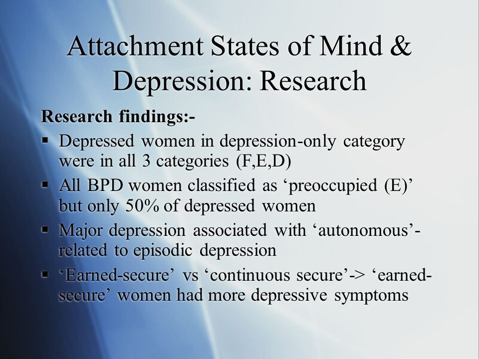 Attachment States of Mind & Depression: Research Research findings:-  Depressed women in depression-only category were in all 3 categories (F,E,D)  All BPD women classified as 'preoccupied (E)' but only 50% of depressed women  Major depression associated with 'autonomous'- related to episodic depression  'Earned-secure' vs 'continuous secure'-> 'earned- secure' women had more depressive symptoms Research findings:-  Depressed women in depression-only category were in all 3 categories (F,E,D)  All BPD women classified as 'preoccupied (E)' but only 50% of depressed women  Major depression associated with 'autonomous'- related to episodic depression  'Earned-secure' vs 'continuous secure'-> 'earned- secure' women had more depressive symptoms