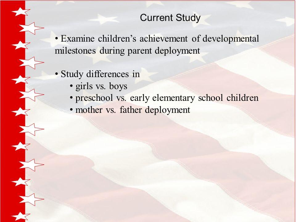 Current Study Examine children's achievement of developmental milestones during parent deployment Study differences in girls vs.