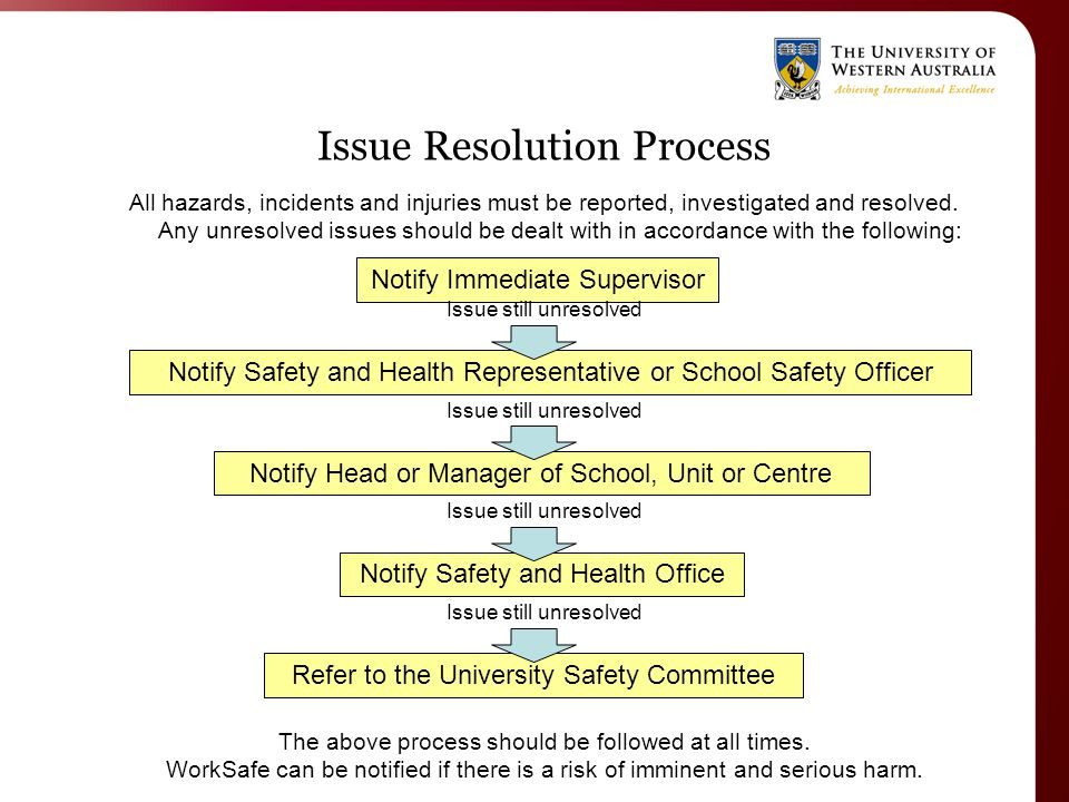 Issue Resolution Process All hazards, incidents and injuries must be reported, investigated and resolved.