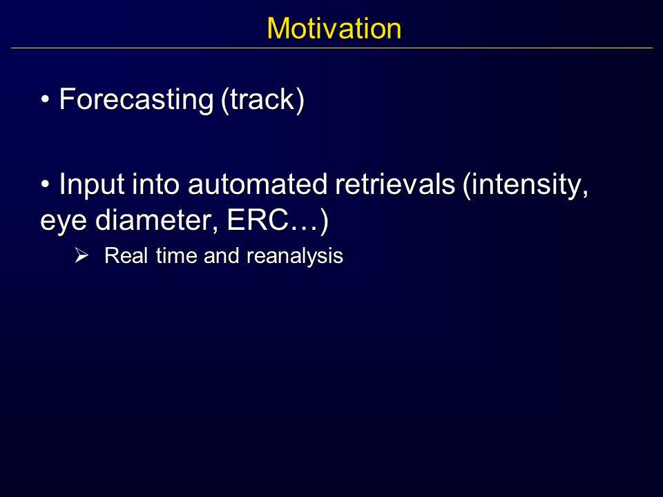 Motivation Forecasting (track) Forecasting (track) Input into automated retrievals (intensity, eye diameter, ERC…) Input into automated retrievals (intensity, eye diameter, ERC…)  Real time and reanalysis