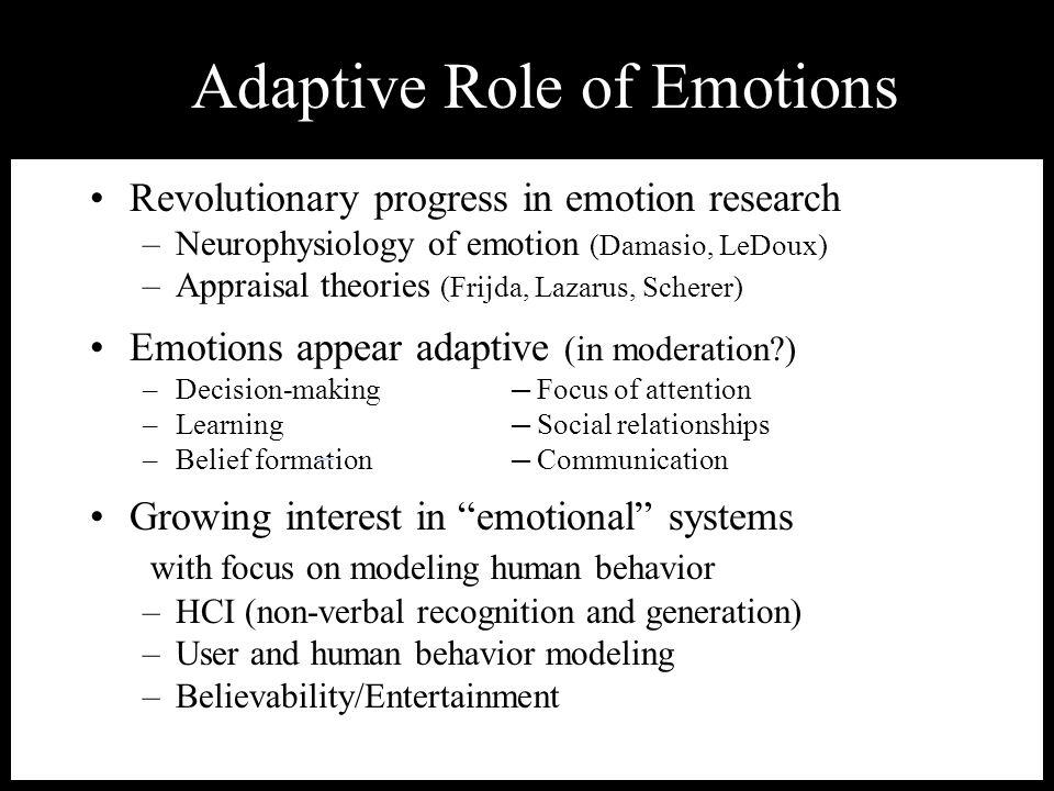 Revolutionary progress in emotion research –Neurophysiology of emotion (Damasio, LeDoux) –Appraisal theories (Frijda, Lazarus, Scherer) Emotions appea