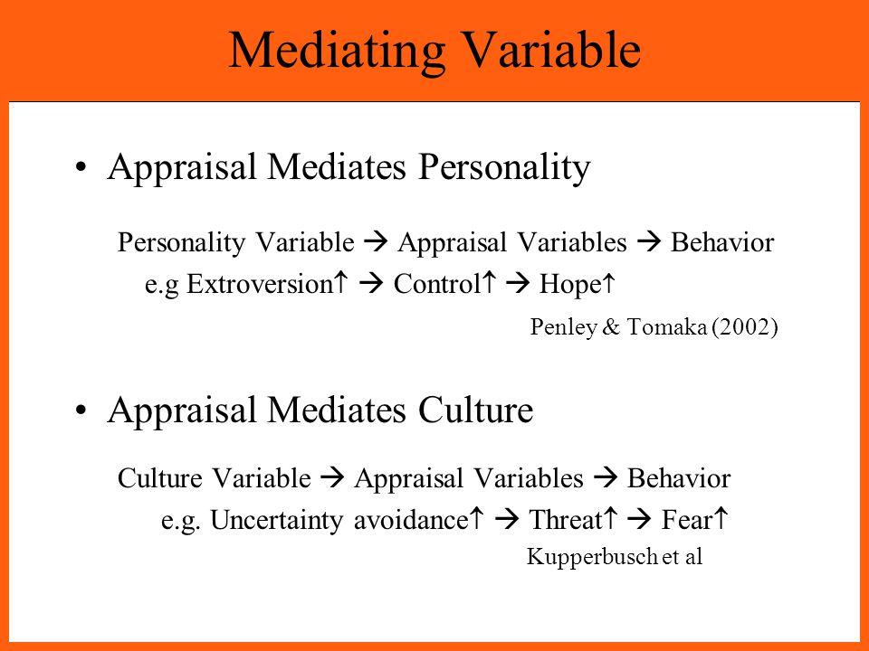 Mediating Variable Appraisal Mediates Personality Personality Variable  Appraisal Variables  Behavior e.g Extroversion   Control   Hope  Penley