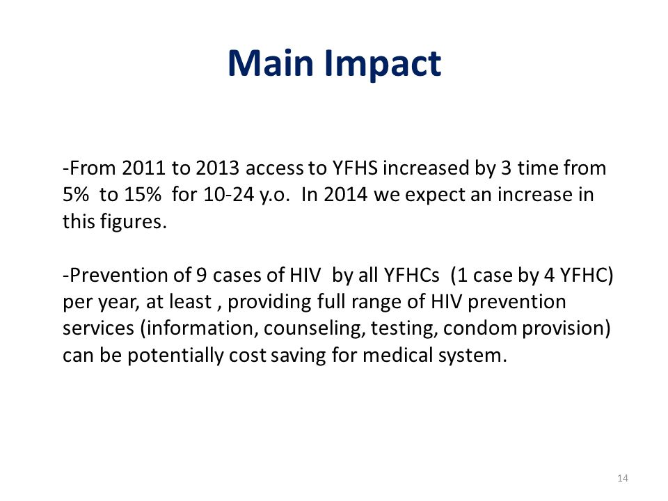 Main Impact -From 2011 to 2013 access to YFHS increased by 3 time from 5% to 15% for 10-24 y.o.