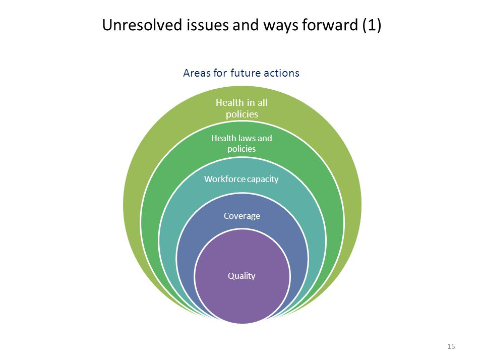 Unresolved issues and ways forward (1) Health in all policies Health laws and policies Workforce capacity Coverage Quality Areas for future actions 15