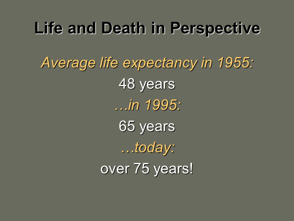 Life and Death in Perspective Average life expectancy in 1955: 48 years …in 1995: 65 years …today: over 75 years!