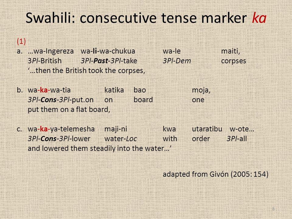 Swahili: consecutive tense marker ka (1) a.…wa-Ingereza wa-li-wa-chukuawa-lemaiti, 3Pl-British 3Pl-Past-3Pl-take3Pl-Demcorpses '…then the British took the corpses, b.wa-ka-wa-tiakatika baomoja, 3Pl-Cons-3Pl-put.ononboardone put them on a flat board, c.wa-ka-ya-telemeshamaji-nikwautaratibu w-ote… 3Pl-Cons-3Pl-lower water-Locwithorder 3Pl-all and lowered them steadily into the water…' adapted from Givón (2005: 154) 8